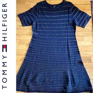 PRETTY Shimmer Navy Blue Party Dress Hilfiger XL
